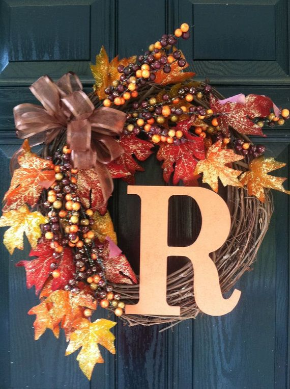 Thanksgiving Home Office Interior Design: Fall Wreath With Monogram By DecorativeDoors On Etsy, $45