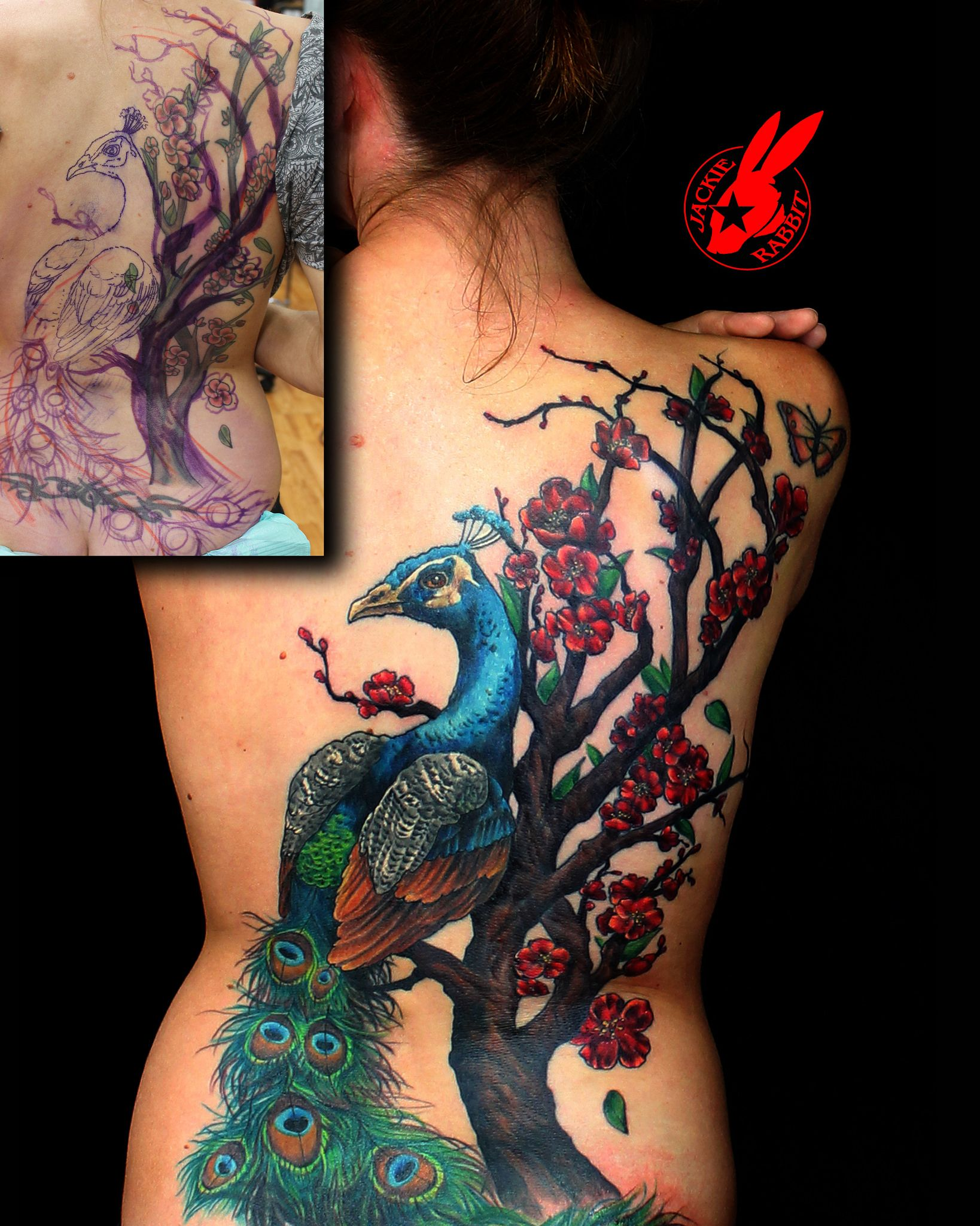 Peacock Cherry Blossom Cover Up Back Tattoo By Jackie Rabbit