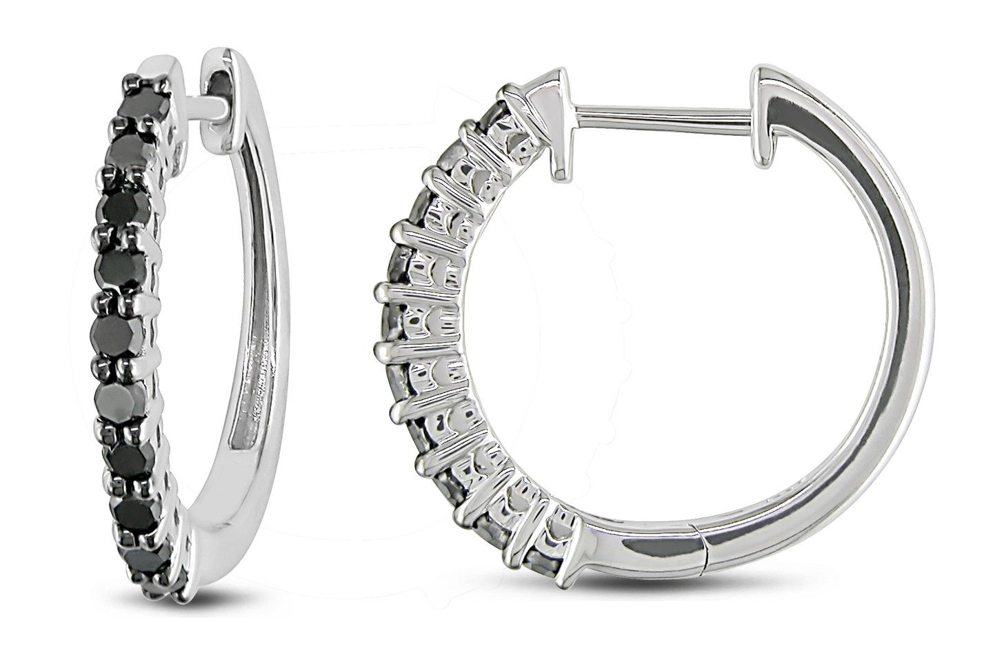 1/2 Carat Black Diamond 10K White Gold Hoop Earrings.  A stunning and dramatic pair of hoops. Crafted in gleaming 10K white gold, these black diamond encrusted earrings have a simple, modern and elegant design. Black diamonds receive their dramatic tone through a special color enhancement process. #hoop #earrings #gold