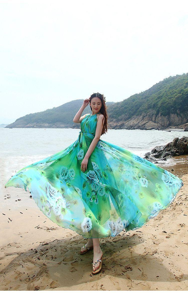 Highwaist highneck print ball gown long beach dress beach