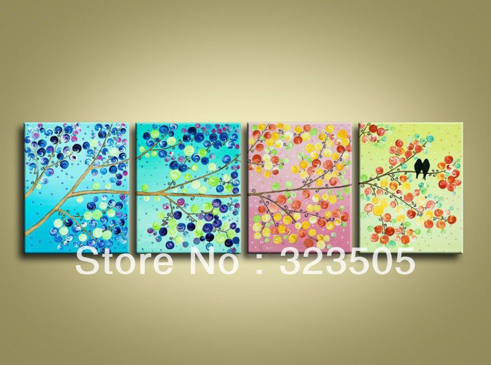 4 Piece Canvas Wall Art Modern Abstract Wall Deco 4 Season Tree Picture Oil Painting Framed Home Decoration Multi Canvas Painting Colorful Art Button Tree Art