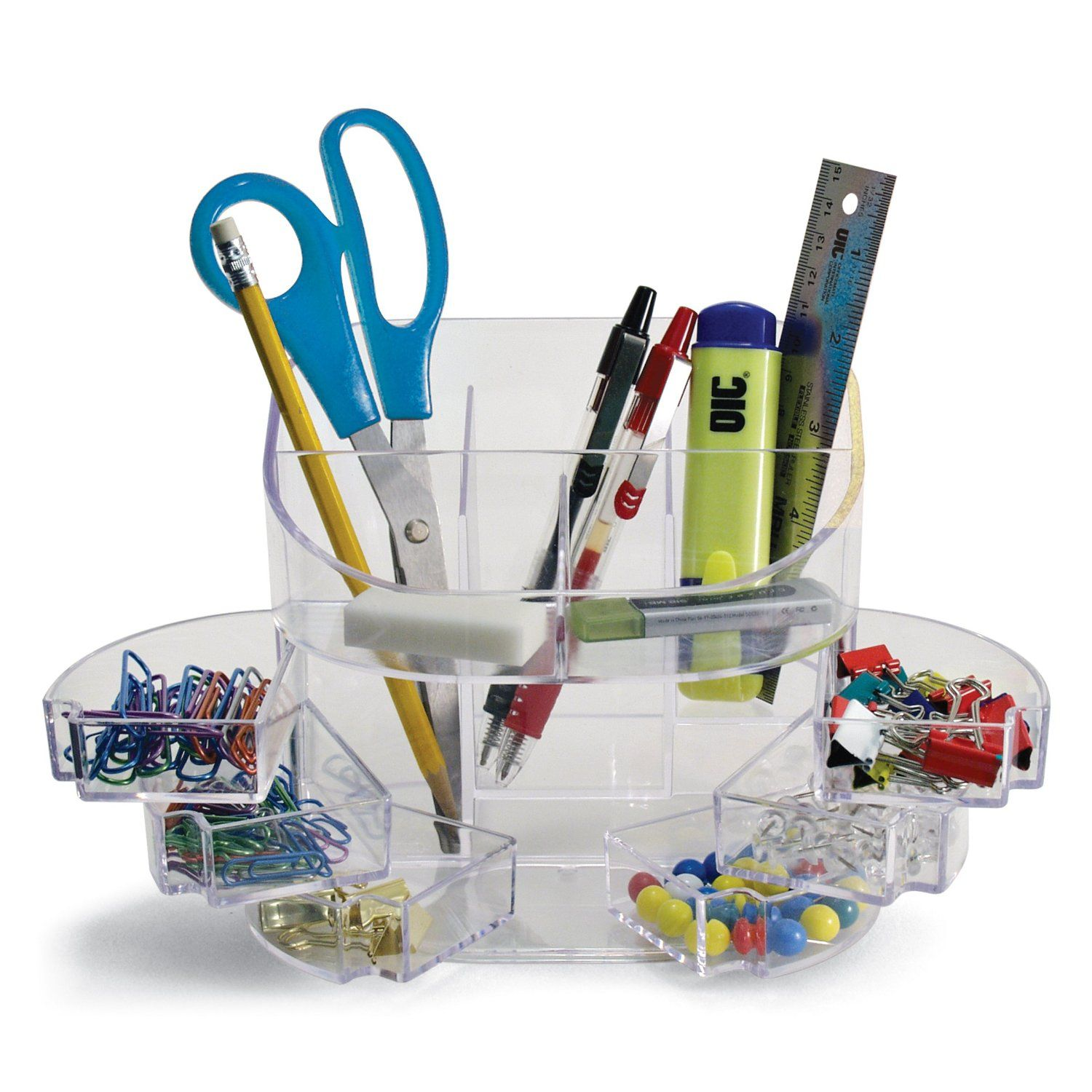 Officemate Desk Tidy Organiser With 11 Storage Compartments Clear Co