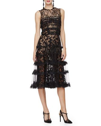 Sleeveless+Embroidered+Cocktail+Dress,+Black+by+Oscar+de+la+Renta+at+Neiman+Marcus.