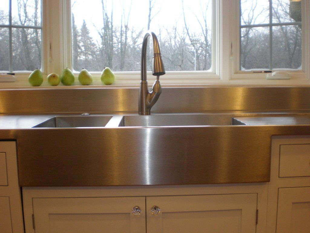 We love our new stainless steel countertop and sinks for Stainless steel countertop with integral sink