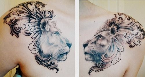 This Beautiful Tattoo Of A Lion And Lioness Incorporates Heraldic