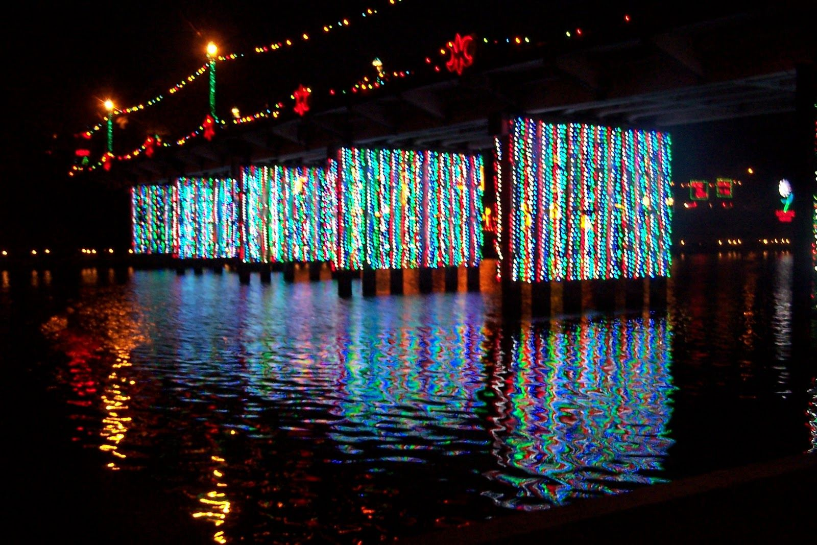 Natchitoches Christmas Festival.Church Street Bridge During The Christmas Festival In