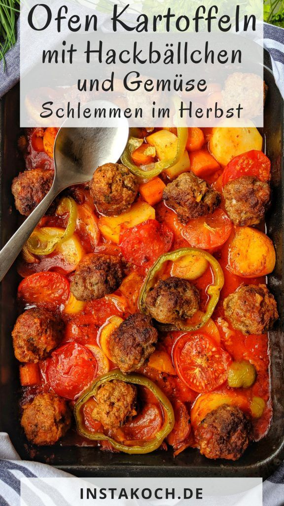 Photo of Baked potatoes in tomato sauce with meatballs and vegetables …