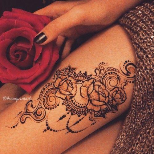 Henna Rose Arrangement For Thigh Henna Leg Tatto