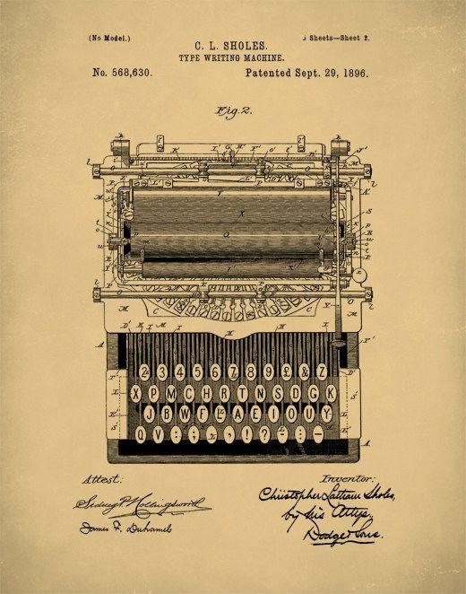Patent Prints, Typewriter Wall Art, Patent Art, Typewriter Patent ...