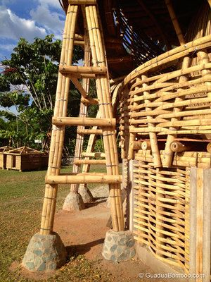 Bamboo Treehouse, it is the stone work around the base of the bamboo post that is interesting.