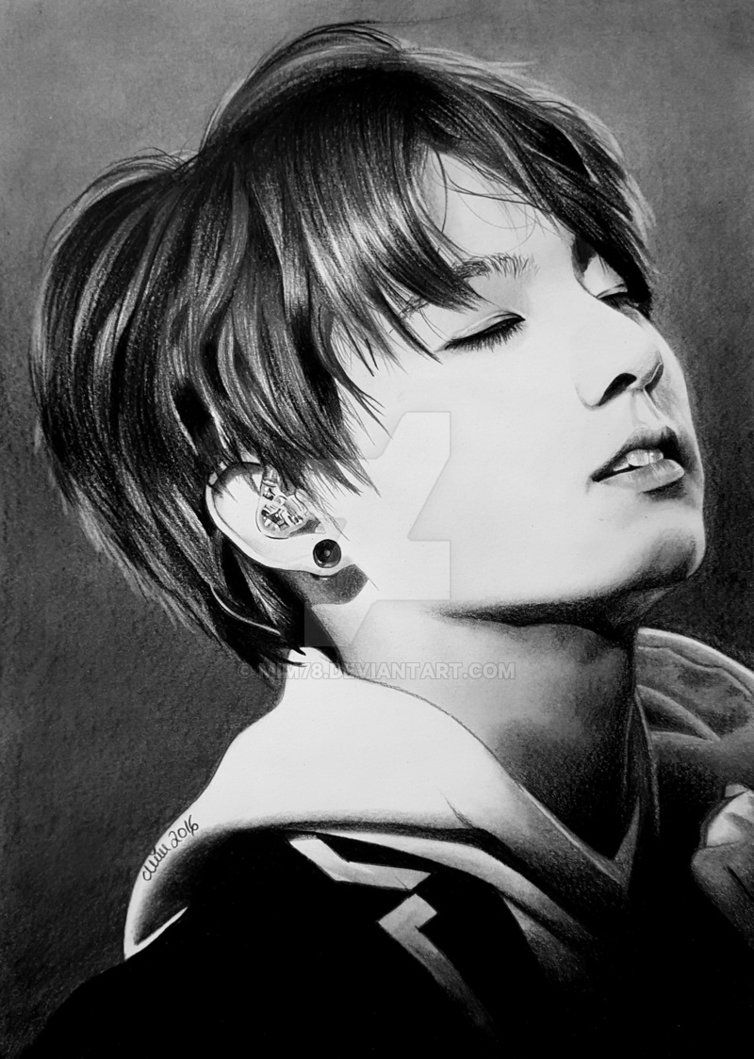 Black& white drawing of JUNGKOOK from the Kpop Band Bangtan Boys (BTS). Position: Dance, Maknae Used pencil HB, 5B & black crayon. Size 21 x 30cm (A4). PLEASE don't be too mad about the wat...