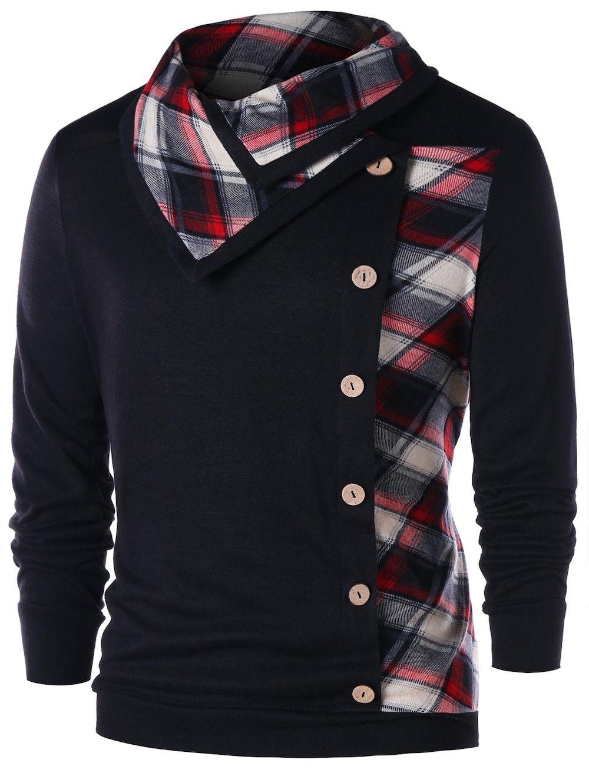 05df8b905bc5cc Button Embellished Plaid Heaps Collar Sweatshirt em 2019   Men's ...
