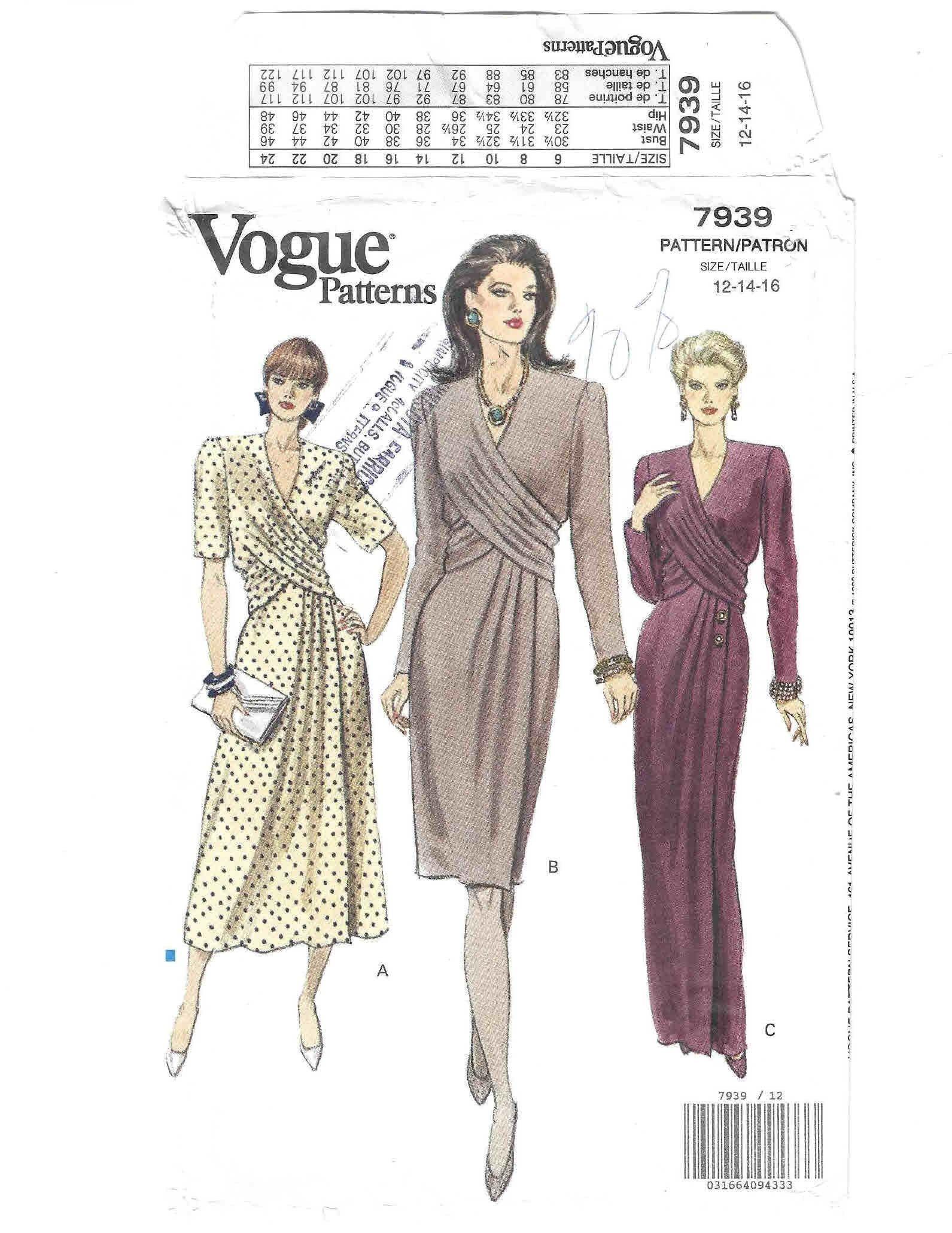 Vogue Faux Wrap Dress Pattern 7939 Uncut Sizes 12 14 16 Bust Etsy In 2021 Wrap Dress Pattern Faux Wrap Dress Faux Wrap Dress Pattern [ 2061 x 1591 Pixel ]