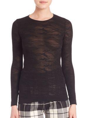 MAX MARA Lace Overlay Sheer Top. #maxmara #cloth #top