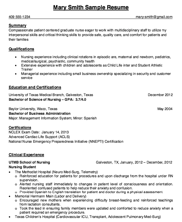 Clinical Nursing Student With Experienced Resume Sample - http ...