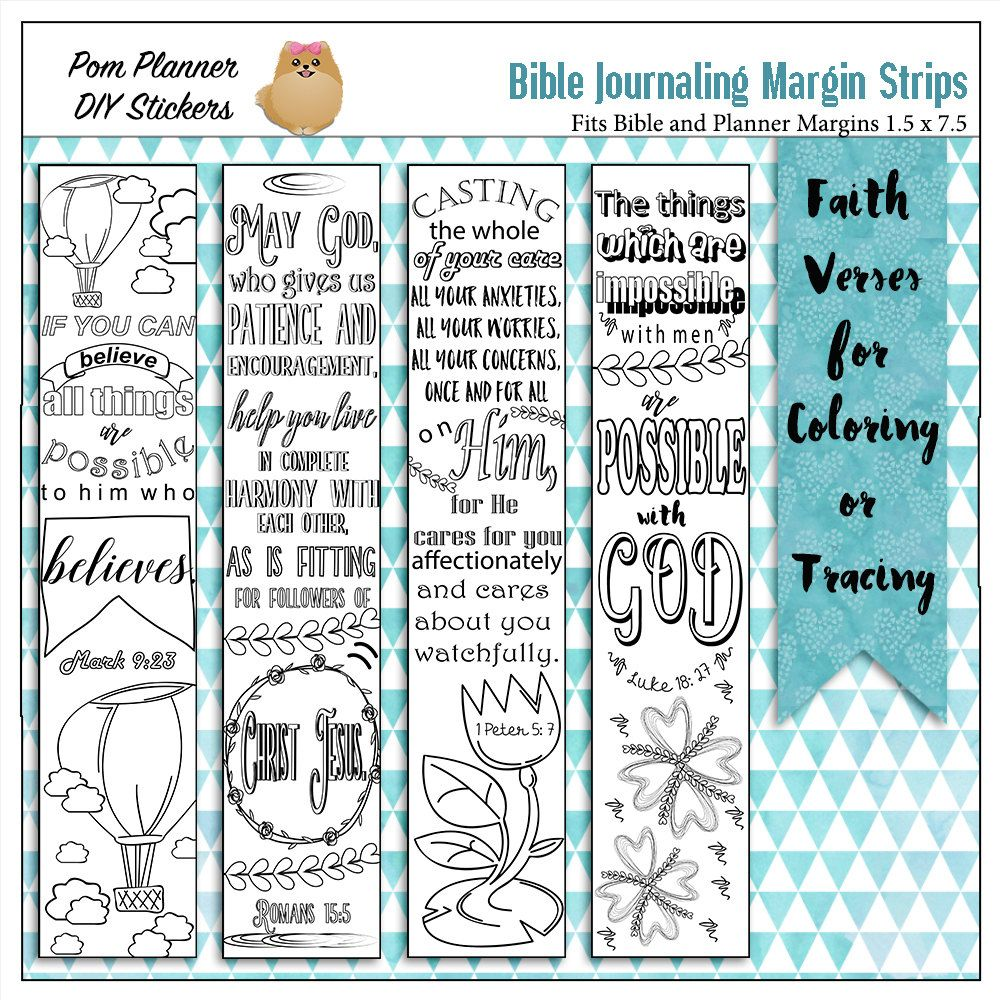 4 Printable Coloring Bible Journaling Margin Strips For Wide Margins Or Planner Sticker Decoration Bookmarks Hide Gods Word In Your