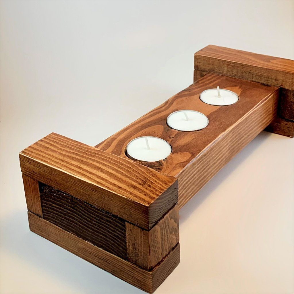 Handmade Wood Tealight Candle Holder One Of A Kind Candleholders Candle Candles Handmade Hand Tealight Candle Holders Handmade Wood Tea Light Candles