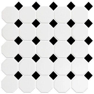 Tile Octagonal Snow White Black 12x12 Mosaic Mosaic Flooring Mosaic Floor Tile Daltile