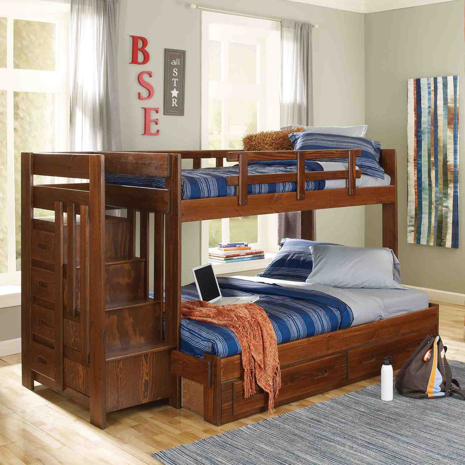 Loft bed twin over queen  Have to have it Heartland Twin over Full Bunk Bed with Stairs