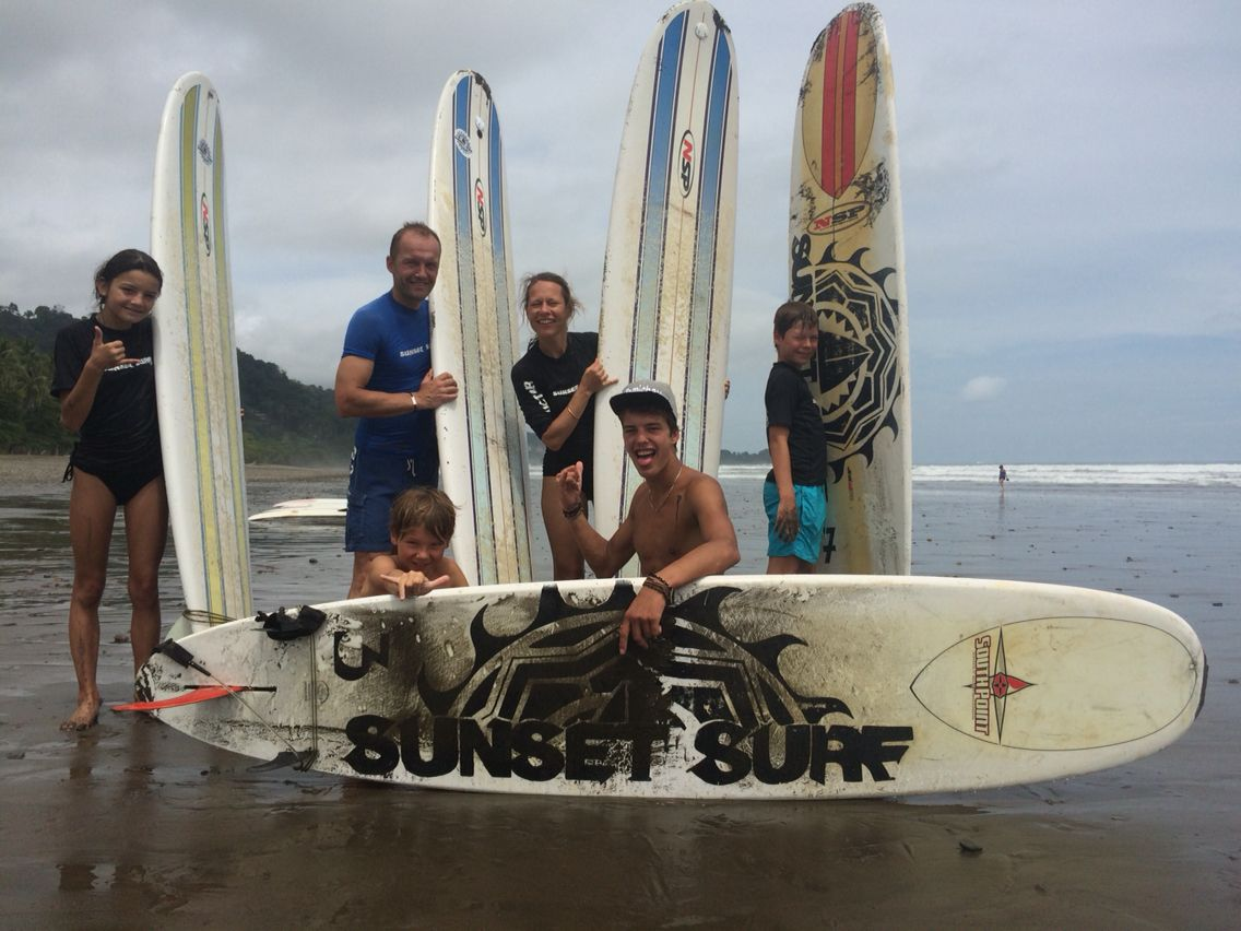 Learn to surf as a family! #surfcamp #costarica #goodtimes #dominical #family  www.sunsetsurfdominical.com