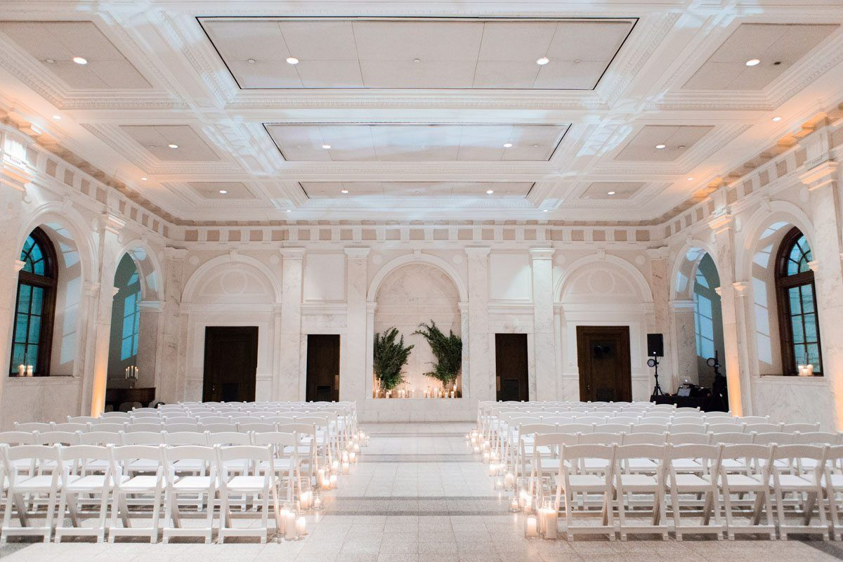 Glowing White Wedding At Historic Dekalb Courthouse In Decatur Ga The Celebration Society Candlelit Wedding Romantic Candlelit Wedding Candlelit