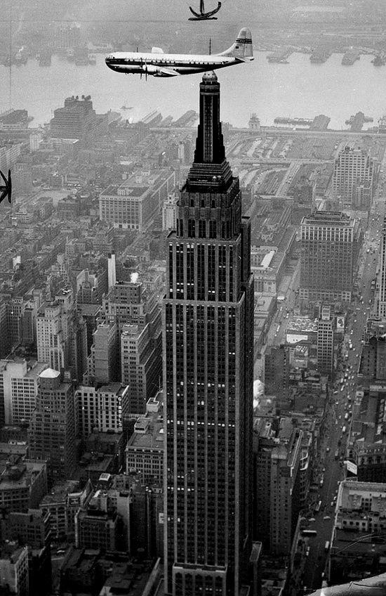 PanAm Clipper Flies Above Manhattan, 1949 pinned with Bazaart