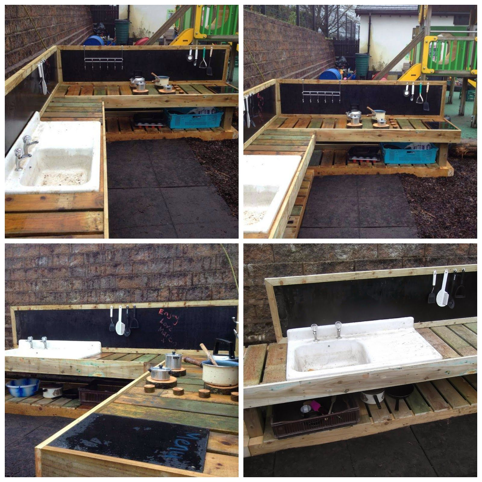 Mud kitchen upcycled pallet mud kitchen pallet kitchen counter with - Learning For Life A Deluxe Mud Kitchen