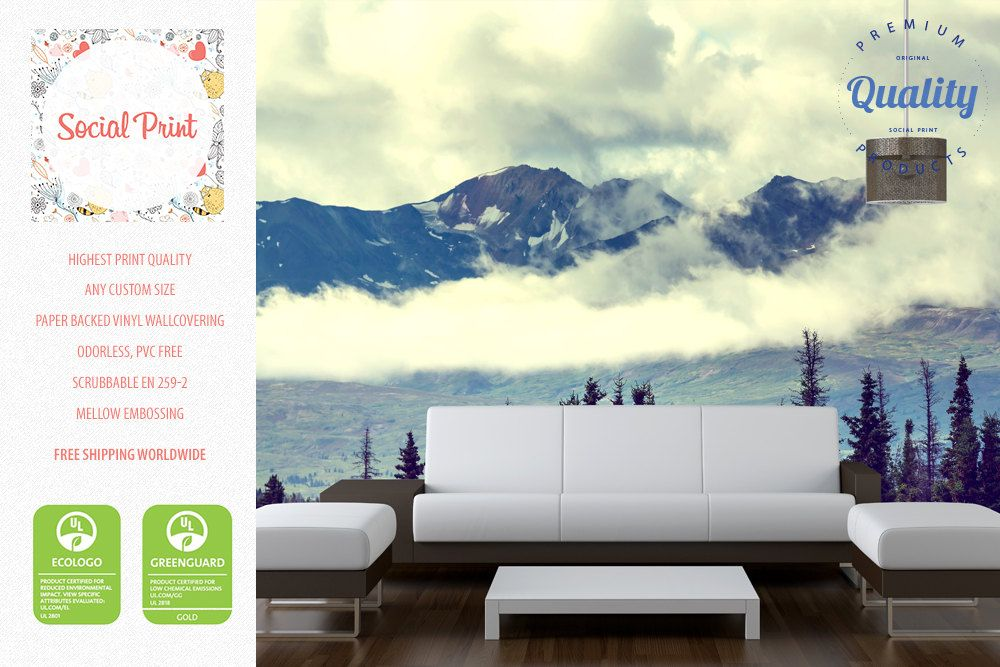 Mountains Wallpaper Non Woven Wall Covering Free