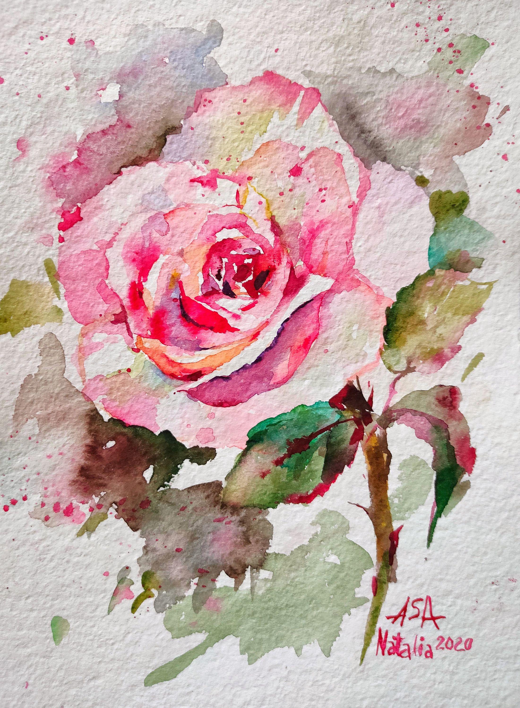 Original Watercolor Painting Pink Rose Flower Original Mini In 2020 Small Paintings Art Original Watercolor Painting Small Paintings