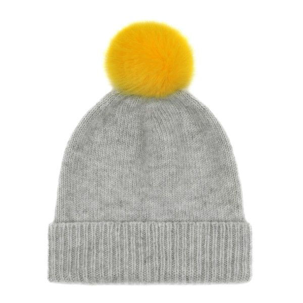 Bobble Hat in Grey with Buttercup Yellow Pom Pom ( 98) ❤ liked on Polyvore  featuring accessories 7fb0188fc42