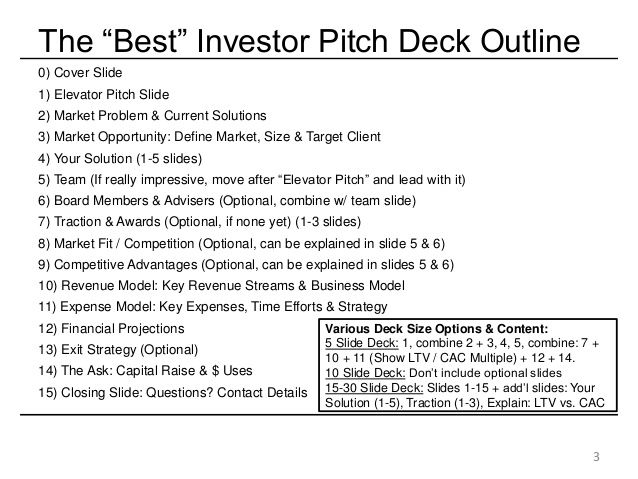 The u201cBestu201d Investor Pitch Deck Outline 0) Cover Slide 1) Elevator - elevator speech examples