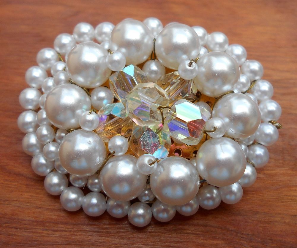 Vintage Japan Faux Pearl Miriam Haskell Style Oval Brooch Pin Brooch Faux Pearl Antique Jewelry