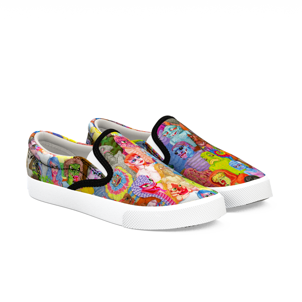 859c911c674174 Slip your claws into a monstrously fun design. Artist Matt Furie brings his  anthropomorphic creations to shoes with this colorful monster mash(up)  design.