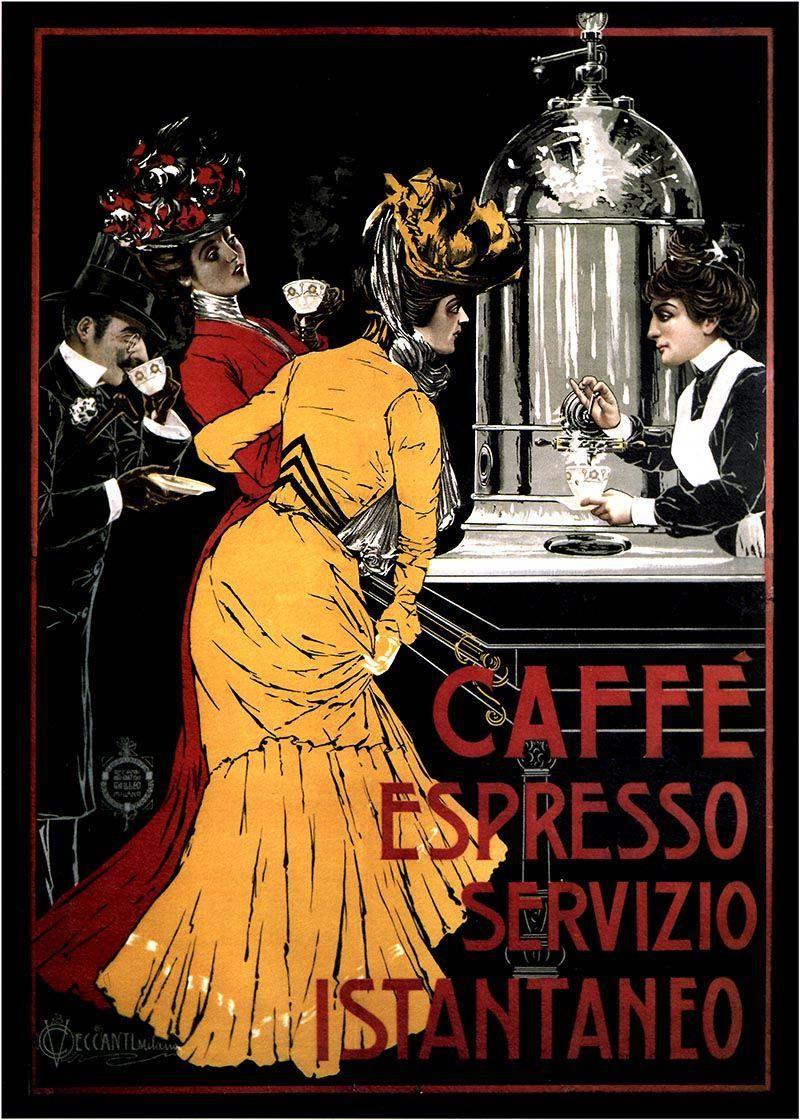 Vintage Caffe Espresso Advert Poster Wall Art Cult Nostalgic re-print