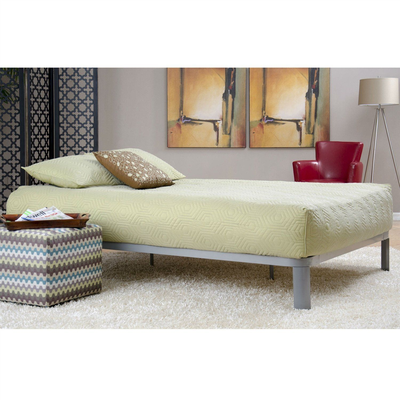 Twin size luna metal platform bed frame with wood slats