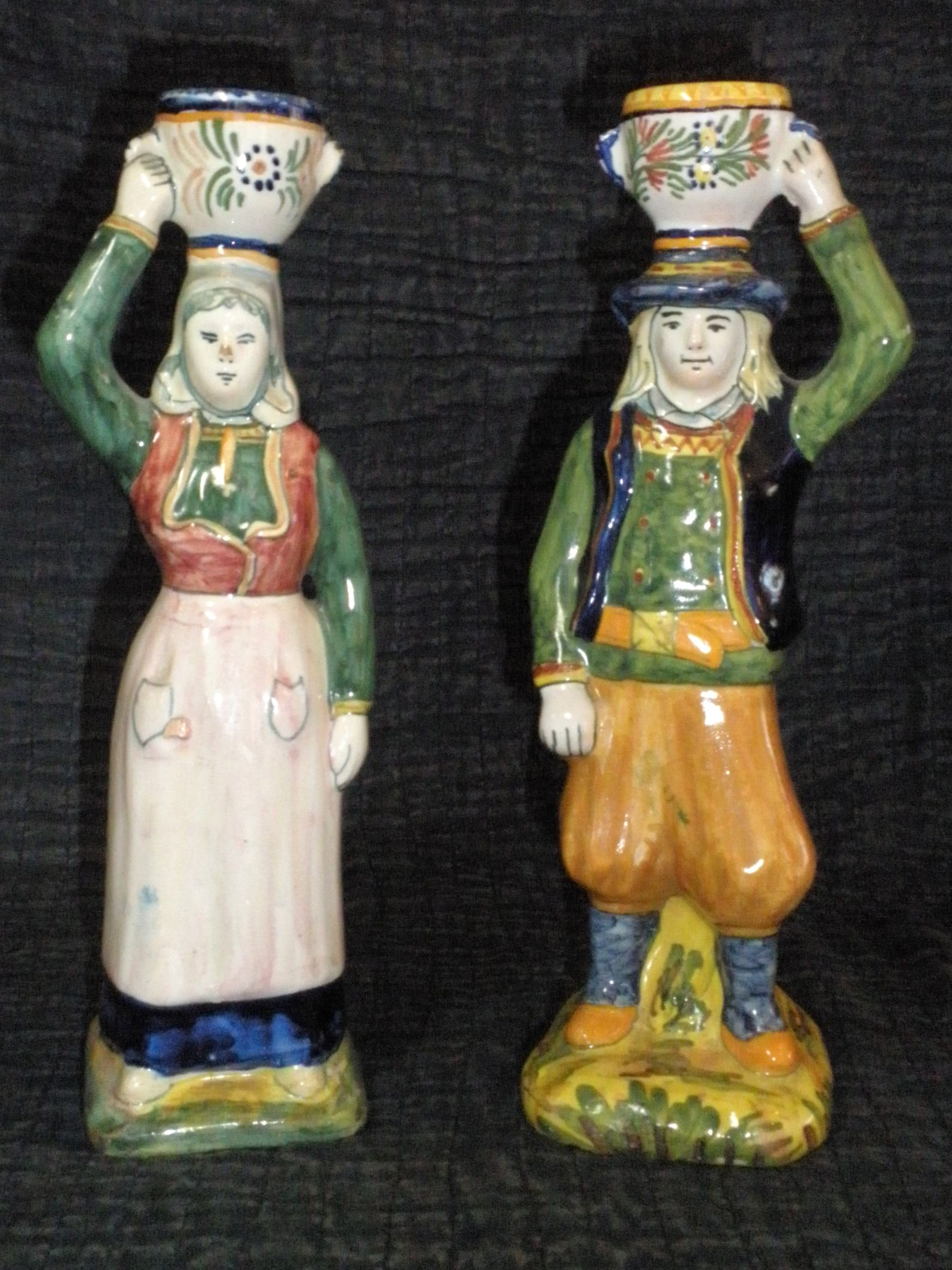 Fabulous Figural Candlesticks From Quimper France Photo Courtesy Countryfrenchpottery Com Faience De Quimper Quimper Bretagne