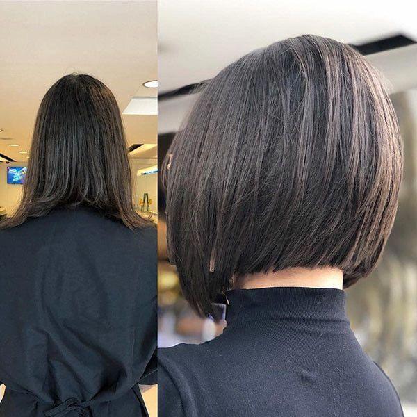 Dark Brown Short Bob Popular Bob Hairstyles 2019 Bobhairstylesforfinehair In 2020 Bob Hairstyles Angled Bob Hairstyles Angled Bob Haircuts