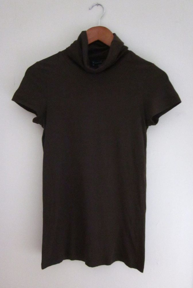 Theory Short Sleeve Turtleneck Lightweight Cotton Brown Size M #Theory #Turtleneck #Career