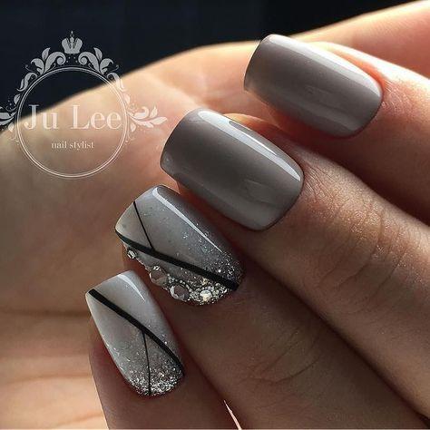 gray nail design grey