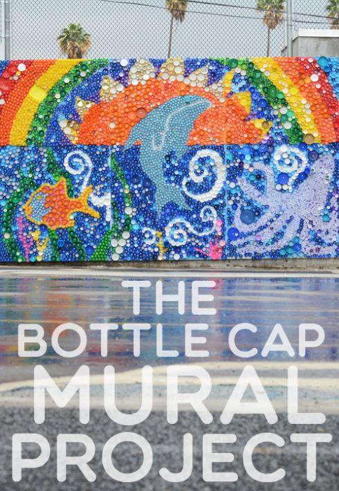 School Wide Bottle Cap Mural Project for kids