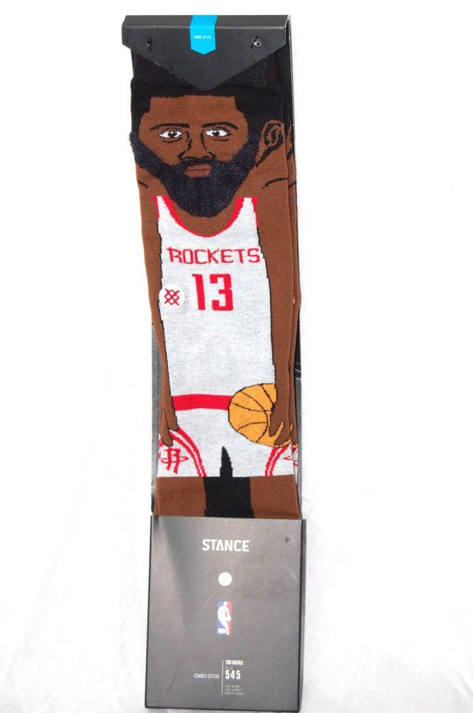 3d6eb77648c39 Stance Cartoon James Harden Socks NBA Houston Rockets Large Size 9-12 NEW   Stance  Athletic