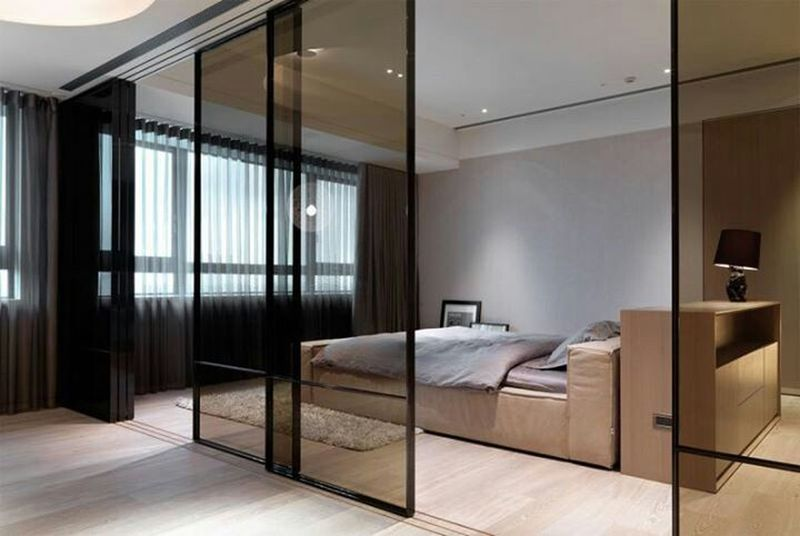 130 Studios Apartment with Glass Divinding Wall Ideas Wall ideas