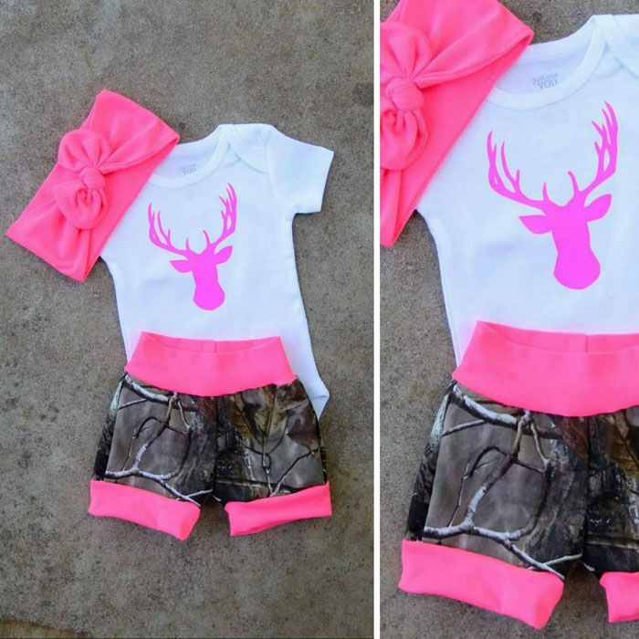 538f96934a9d1 Camo and Pink Baby Outfit   Kids clothing   Baby pink clothes, Baby ...