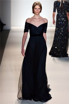 Fast Shipping New Arrival Jenny Packham Cap Sleeve V-Neck A Line Long Navy Blue Prom Gown Evening Dress 2014