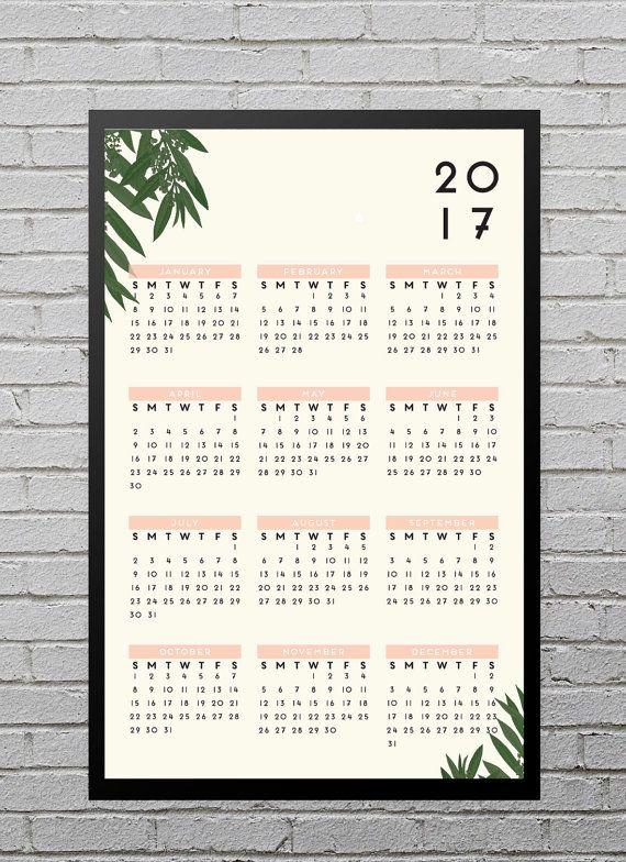 Modern Botanical 2017 Wall Calendar // 11x17 by blacklabstudio ...