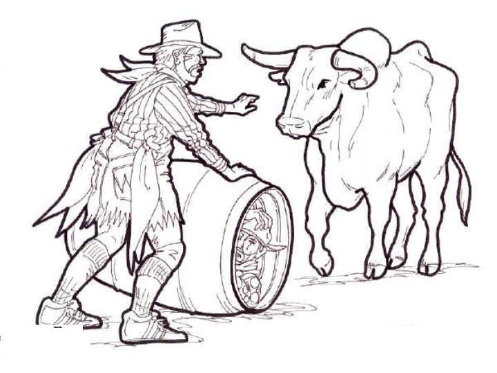 Rodeo clown with bull coloring 720 540 for Coloring pages of bulls