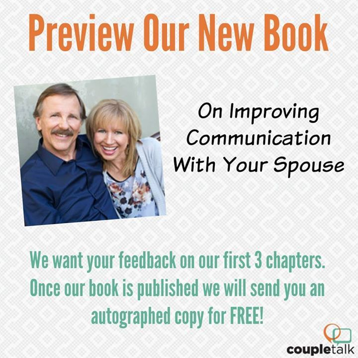 We want your feedback on our soon-to-be published book to improve communication w/ ur spouse! bit.ly/2dIyCm9   We've written the first 3 chapters based on Christian principles and the latest research on communication- and we'd love your feedback! You'll receive a copy via email (or we can mail you a hard copy if you prefer). Then, we will ask for your feedback using a simple emailed survey. And in return, you'll receive a FREE AUTOGRAPHED COPY of the complete book once it's published!