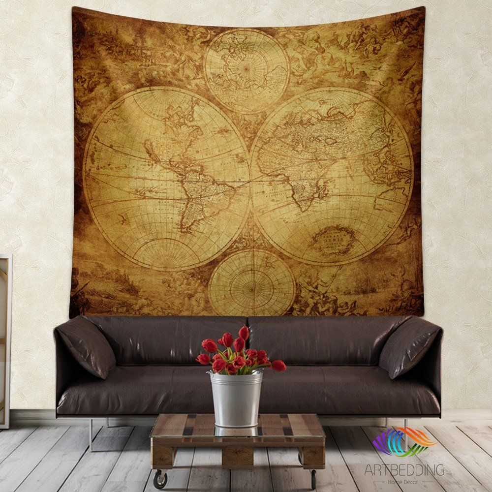 Vintage world map wall tapestry vintage interior world map wall vintage world map wall tapestry vintage interior world map wall hanging old map wall gumiabroncs Choice Image