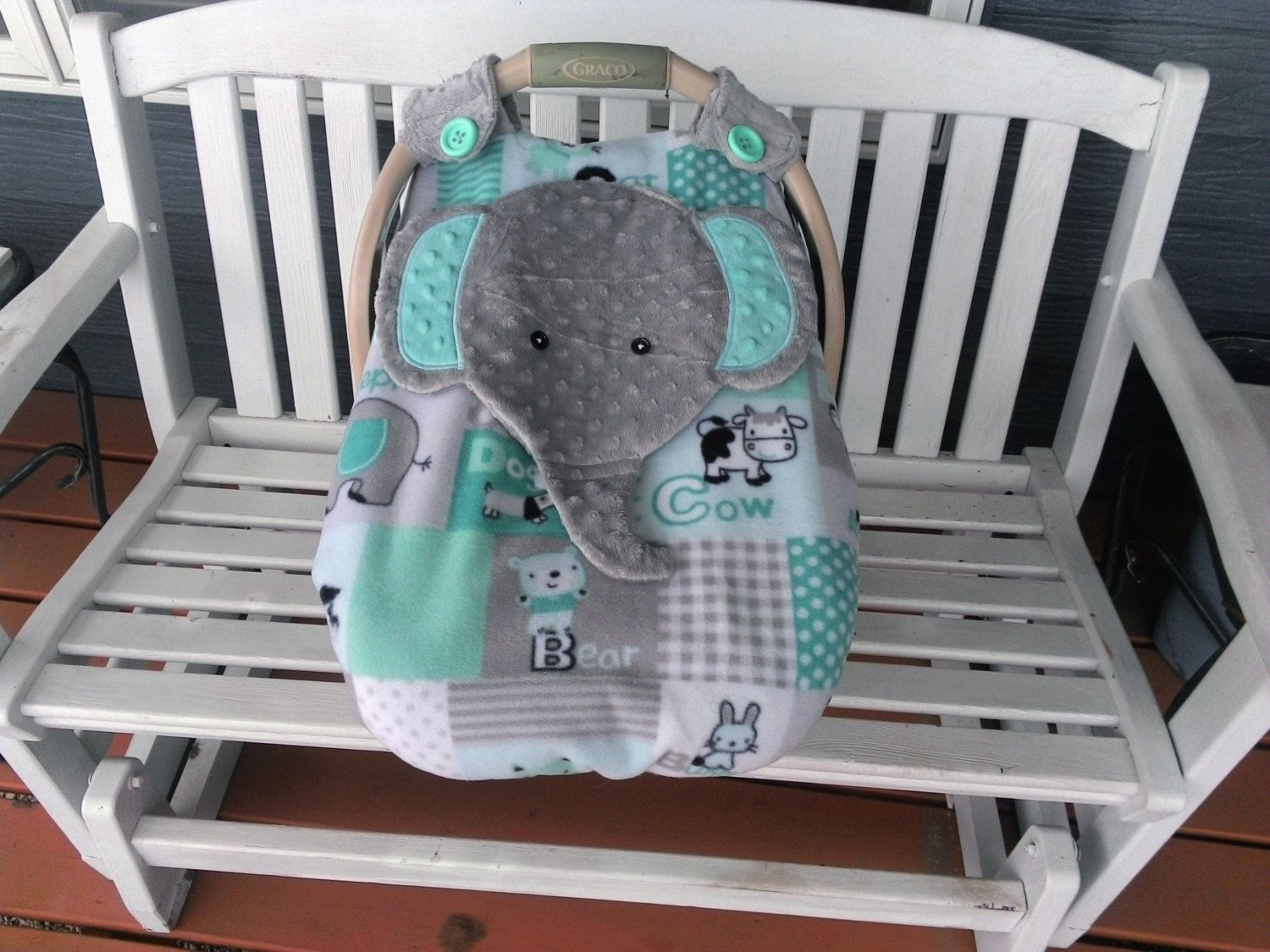 Car Seat Canopy With Peek-A--Boo Opening Appliqued Elephant Super Cute!!! Fleece Minky Boys Girls & Car Seat Canopy With Peek-A--Boo Opening Appliqued Elephant ...