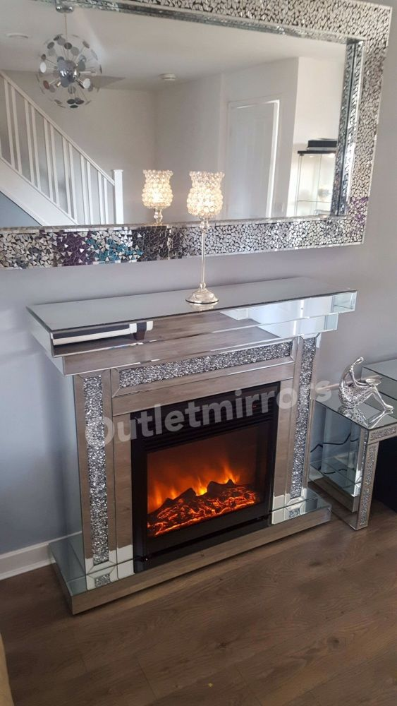 Diamond Crush Sparkle Mirrored fire surround with electric ...